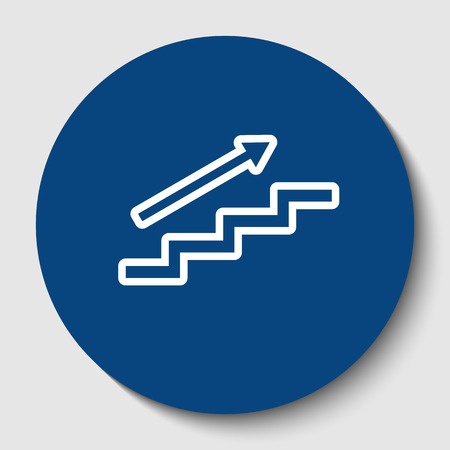 Stair with arrow. Vector. White contour icon in dark cerulean circle at white background. Isolated.