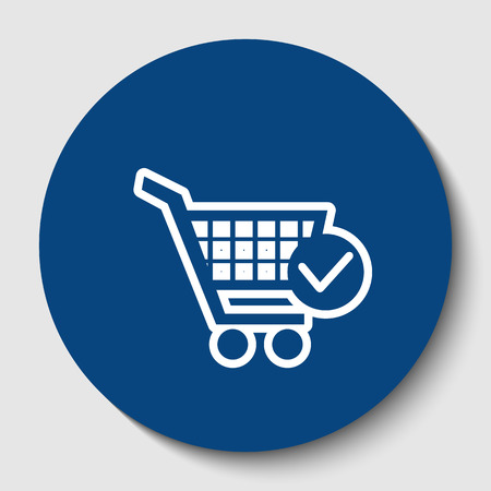 Shopping Cart with Check Mark sign. Vector. White contour icon in dark cerulean circle at white background. Isolated.