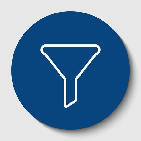 Filter simple sign. White contour icon in dark cerulean circle at white background.