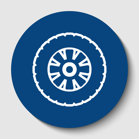 Road tire sign. Vector. White contour icon in dark cerulean circle at white background. Isolated.