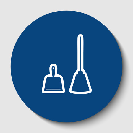 Dustpan vector sign.  White contour icon in dark cerulean circle at white background.