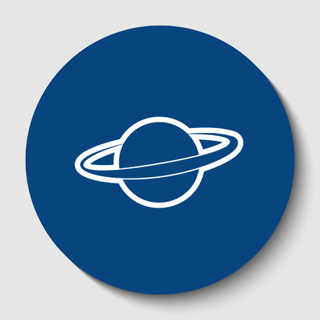Planet in space sign. Vector. White contour icon in dark cerulean circle at white background. Isolated. Stock Vector - 92333071