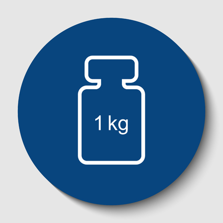 Weight simple sign. White contour icon in dark cerulean circle at white background. Illustration