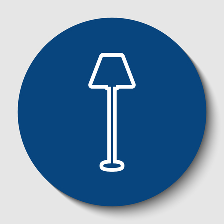 Lamp simple sign. White contour icon in dark cerulean circle at white background.