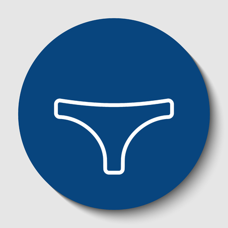 Womens panties sign. Vector. White contour icon in dark cerulean circle at white background. Isolated. Illustration