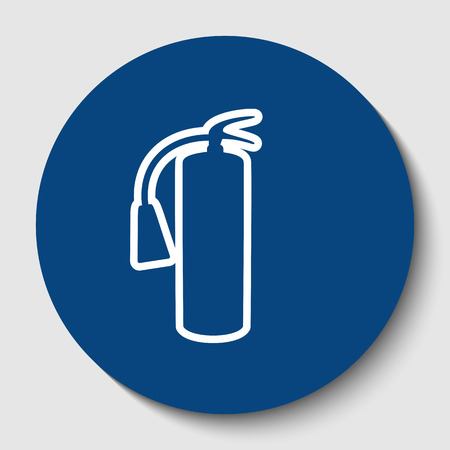 Fire extinguisher sign. White contour icon in dark cerulean circle at white background.