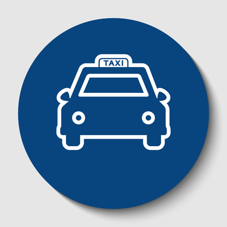 Taxi sign illustration. Vector. White contour icon in dark cerulean circle at white background. Isolated.