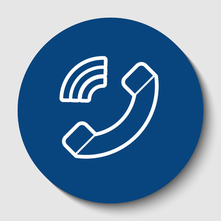 Phone sign illustration. Vector. White contour icon in dark cerulean circle at white background. Isolated.