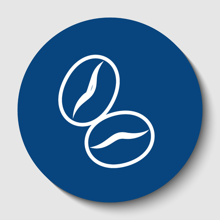 Coffee beans sign. Vector. White contour icon in dark cerulean circle at white background. Isolated.