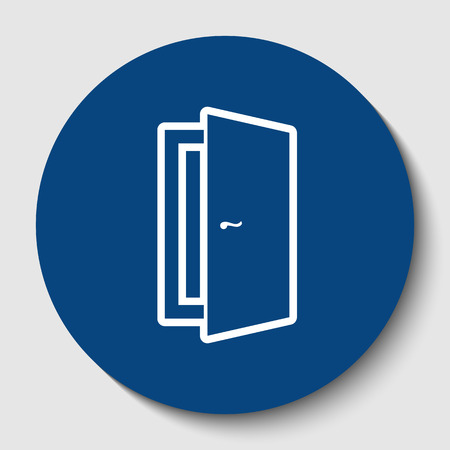 Door sign illustration. Vector. White contour icon in dark cerulean circle at white background. Isolated.
