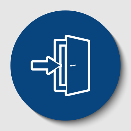Door Exit sign. Vector. White contour icon in dark cerulean circle at white background. Isolated.