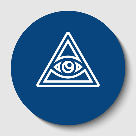 All seeing eye pyramid symbol. Freemason and spiritual. Vector. White contour icon in dark cerulean circle at white background. Isolated.