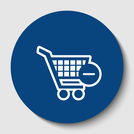 Vector Shopping Cart with Remove sign. Vector. White contour icon in dark cerulean circle at white background. Isolated.