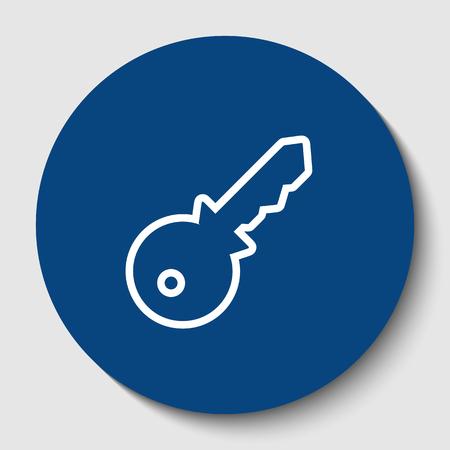 鍵に署名の図。ベクトル。白い背景に暗いセルリアン円の白い輪郭のアイコン。分離されました。