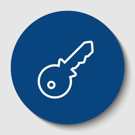Key sign illustration. Vector. White contour icon in dark cerulean circle at white background. Isolated.