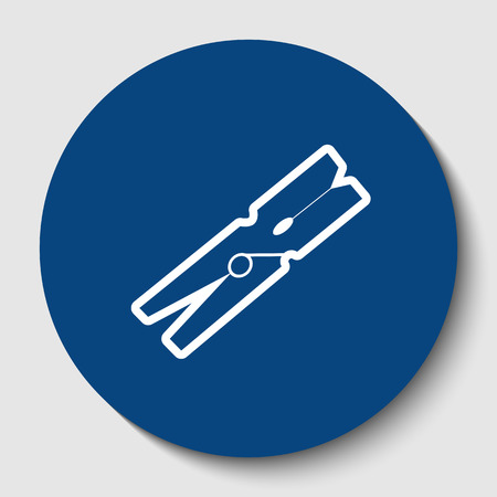 Clothes peg sign. Vector. White contour icon in dark cerulean circle at white background. Isolated. Illustration