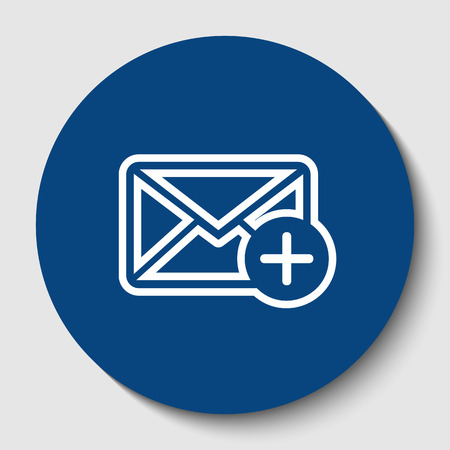 Mail sign illustration with add mark. Vector. White contour icon in dark cerulean circle at white background. Isolated.