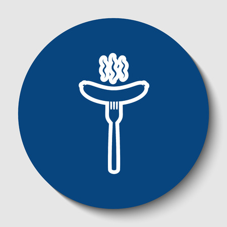 Sausage on fork sign. Vector. White contour icon in dark cerulean circle at white background. Isolated.