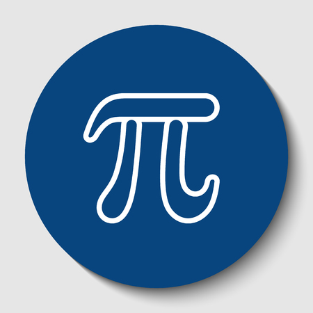 Pi greek letter sign. Vector. White contour icon in dark cerulean circle at white background. Isolated. Illustration