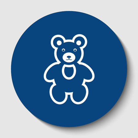 Teddy bear sign illustration. Vector. White contour icon in dark cerulean circle at white background. Isolated.