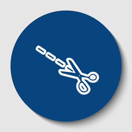Scissors sign illustration. Vector. White contour icon in dark cerulean circle at white background. Isolated.