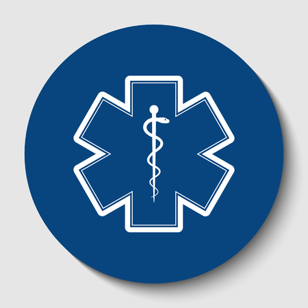 Medical symbol of the Emergency or Star of Life with border. Vector. White contour icon in dark cerulean circle at white background. Isolated.