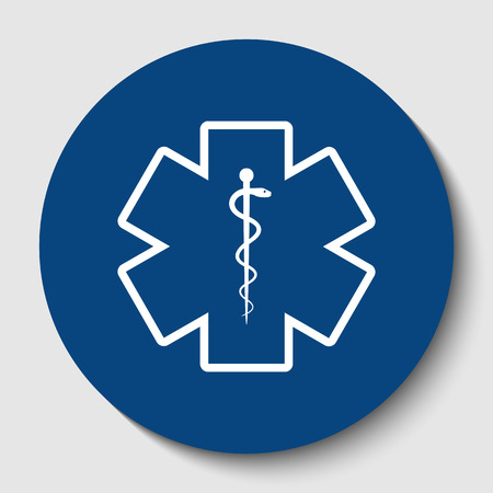 Medical symbol of the Emergency or Star of Life. Vector. White contour icon in dark cerulean circle at white background. Isolated.
