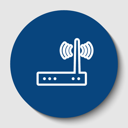 Wifi modem sign. Vector. White contour icon in dark cerulean circle at white background. Isolated. Иллюстрация