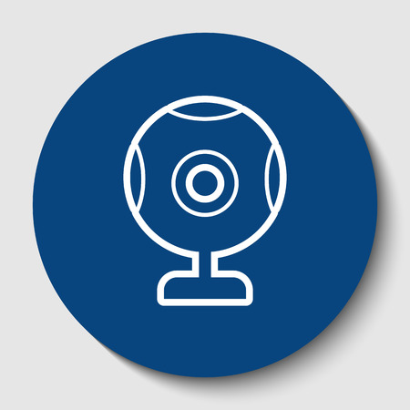 Chat web camera sign. Vector. White contour icon in dark cerulean circle at white background. Isolated. Illustration