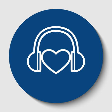 Headphones with heart. Vector. White contour icon in dark cerulean circle at white background. Isolated.