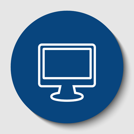 Monitor with brush sign. Vector. White contour icon in dark cerulean circle at white background. Isolated.