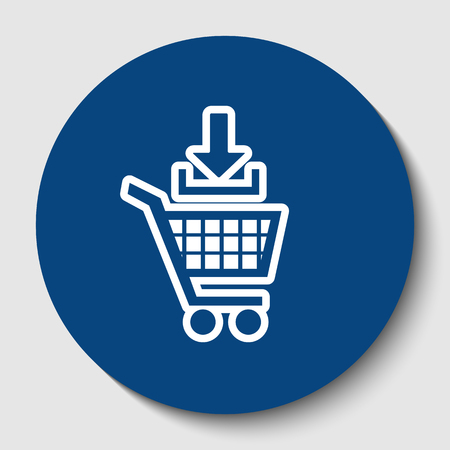 Add to Shopping cart sign. Vector. White contour icon in dark cerulean circle at white background. Isolated.