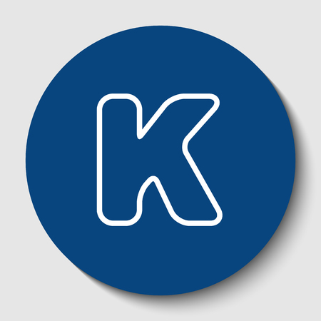Letter K sign design template element. Vector. White contour icon in dark cerulean circle at white background. Isolated.