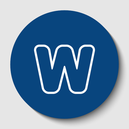 Letter W sign design template element. Vector. White contour icon in dark cerulean circle at white background. Isolated.