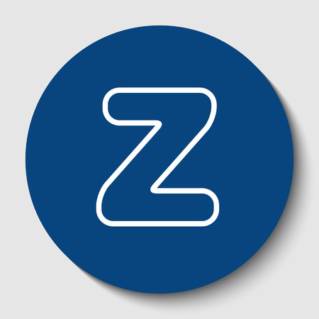 Letter Z sign design template element. Vector. White contour icon in dark cerulean circle at white background. Isolated.