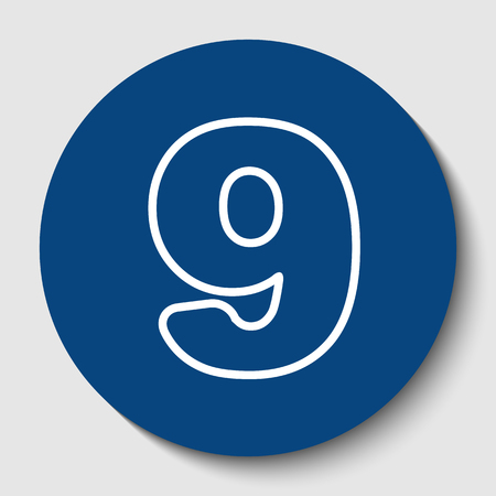 Number 9 sign design template element. Vector. White contour icon in dark cerulean circle at white background. Isolated. Vectores
