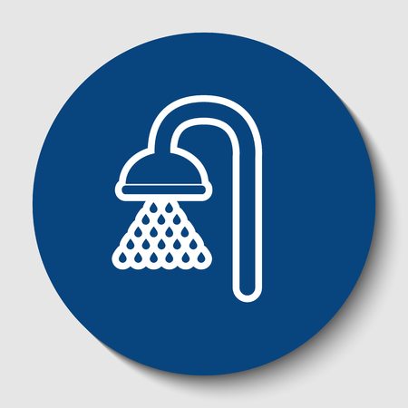 Shower sign. Vector. White contour icon in dark cerulean circle at white background. Isolated.