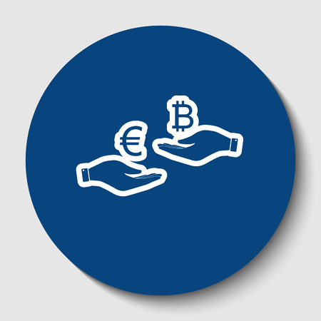Currency exchange from hand to hand. Euro an Bitcoin. Vector. White contour icon in dark cerulean circle at white background. Isolated. Illusztráció