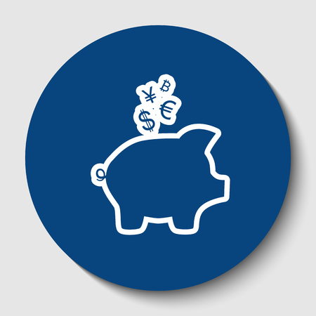 Piggy bank sign with the currencies. Vector. White contour icon in dark cerulean circle at white background. Isolated. Ilustracja