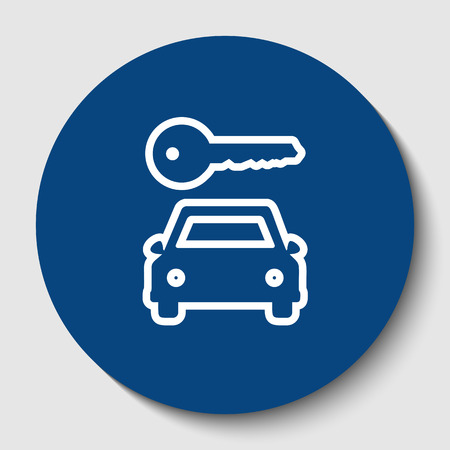 Car key simplistic sign. Vector. White contour icon in dark cerulean circle at white background. Isolated. Illustration