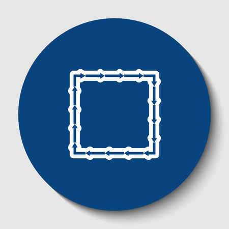Arrow on a square shape. Vector. White contour icon in dark cerulean circle at white background. Isolated.
