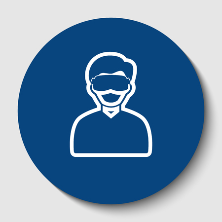 Man with sleeping mask sign. Vector. White contour icon in dark cerulean circle at white background. Isolated.