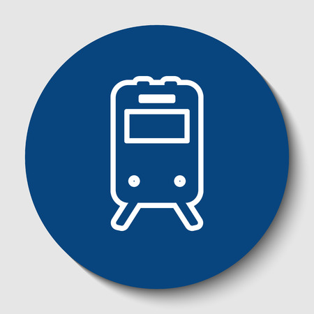 Train sign. Vector. White contour icon in dark cerulean circle at white background. Isolated.