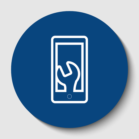 Phone icon with settings. Vector. White contour icon in dark cerulean circle at white background. Isolated.