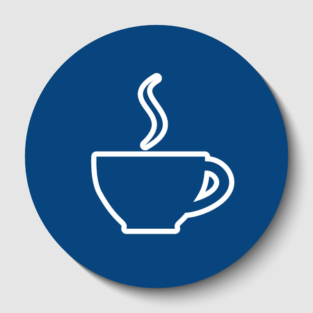 Cup sign with one small stream of smoke. Vector. White contour icon in dark cerulean circle at white background. Isolated. Иллюстрация