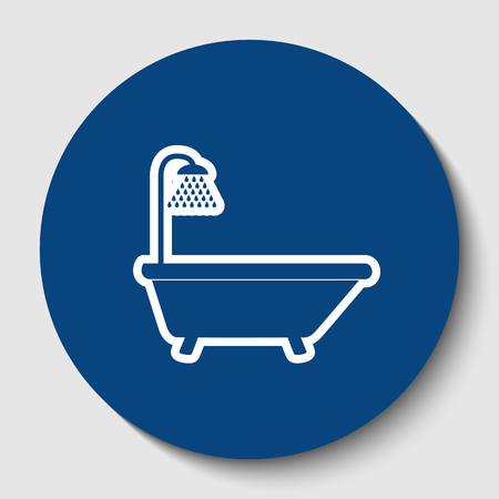 Bathtub sign. Vector. White contour icon in dark cerulean circle at white background. Isolated. Illustration