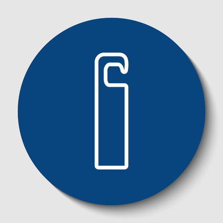 Hotel Door hanger tag sign. Vector. White contour icon in dark cerulean circle at white background. Isolated. Ilustrace