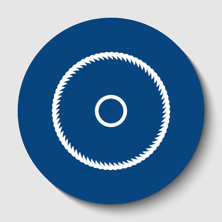 Saw sign. Vector. White contour icon in dark cerulean circle at white background. Isolated.