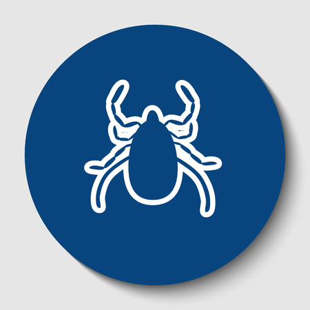 Dust mite sign illustration. Vector. White contour icon in dark cerulean circle at white background. Isolated.
