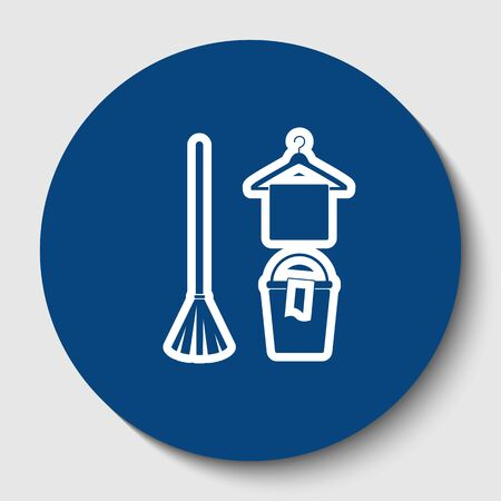 Broom, bucket and hanger sign. Vector. White contour icon in dark cerulean circle at white background. Isolated. Stock Photo